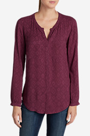 Button-Down Tops for Women: Women's Falling Leaves Long-Sleeve Shirt - Print
