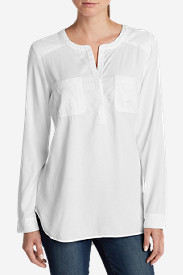 Petite Tops for Women: Women's Tranquil Popover Top with Embroidery