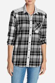 Cotton Tops for Women: Women's Stine's Favorite Flannel Shirt - Mixed Plaid Boyfriend