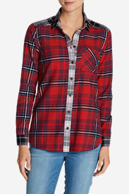 Insulated Tops for Women: Women's Stine's Favorite Flannel Shirt - Mixed Plaid Boyfriend