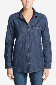 Women's Quilted Indigo Shirt Jacket