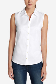 Cotton Tops for Women: Women's Wrinkle-Free Sleeveless Shirt - Solid