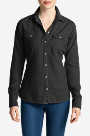 Comfortable Tops for Women: Women's Stine's Favorite Flannel Shirt - Solid