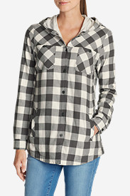 Cotton Tops for Women: Women's Stine's Favorite Flannel Hooded Shirt Jacket