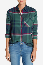 Green Tops for Women: Women's Stine's Favorite Flannel Shirt - One-Pocket Boyfriend