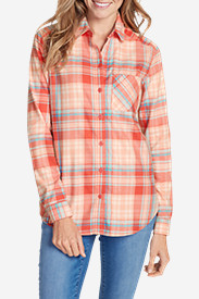 Orange Plus Size Flannel Shirts for Women: Women's Stine's Favorite Flannel Shirt - One-Pocket Boyfriend
