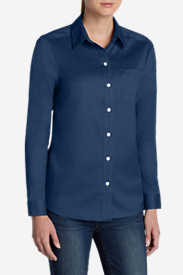Cotton Tops for Women: Women's Wrinkle-Free Boyfriend Long-Sleeve Shirt
