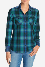Cotton Tops for Women: Women's Stine's Favorite Flannel Mixed Plaid Shirt