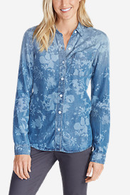Button-Down Tops for Women: Women's Tranquil Boyfriend Shirt - Print