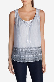 Cotton Tops for Women: Women's Printed Border Voile Tank Top