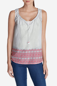 Tall Tank Tops for Women: Women's Printed Border Voile Tank Top