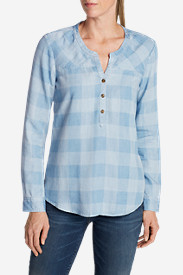 Petite Tops for Women: Women's Tranquil Indigo Check Popover Top