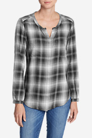 Cotton Tops for Women: Women's Tranquil Falling Leaves Long-Sleeve Top - Plaid
