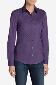 Cotton Tops for Women: Women's Wrinkle-Free Long-Sleeve Shirt - Print