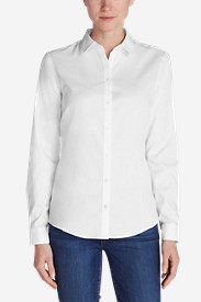 Cotton Tops for Women: Women's Wrinkle-Free Long-Sleeve Shirt - Solid