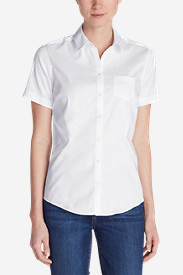 Cotton Tops for Women: Women's Wrinkle-Free Short-Sleeve Shirt - Solid
