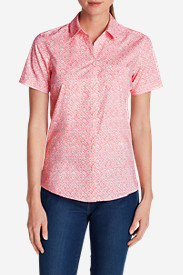 Cotton Tops for Women: Women's Wrinkle-Free Short-Sleeve Shirt - Print