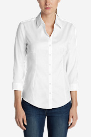 Cotton Tops for Women: Women's Wrinkle-Free 3/4-Sleeve Shirt - Solid