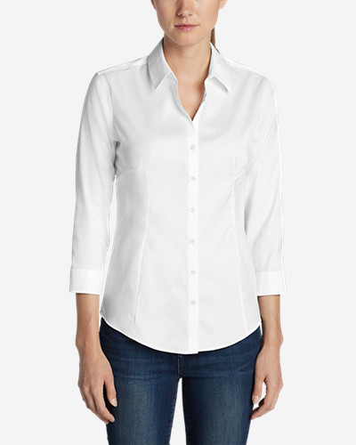 Three-Quarter Sleeve Tops for Women: Women's Wrinkle-Free 3/4-Sleeve Shirt - Solid