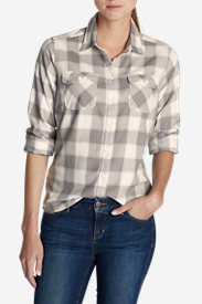 Gray Petite Flannel Shirts for Women: Women's Stine's Favorite Flannel Shirt - Plaid