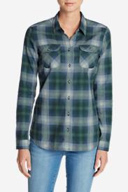 Green Tops for Women: Women's Stine's Favorite Flannel Shirt - Plaid