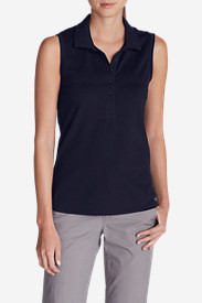 Petite Tops for Women: Women's Sleeveless Piqué Polo Shirt