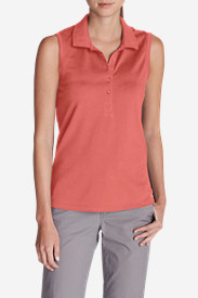 Orange Tops for Women: Women's Sleeveless Piqué Polo Shirt