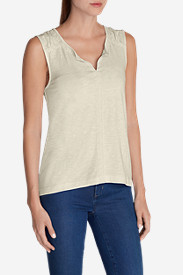 Women's Slub Split Neck Tank Top - Solid