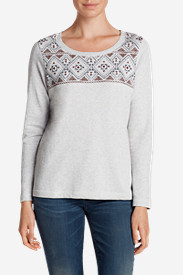 Gray Plus Size Sweatshirts for Women: Women's Shoreline Embroidered Sweatshirt