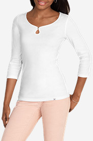 Women's Favorite 3/4-Sleeve Keyhole T-Shirt - Solid