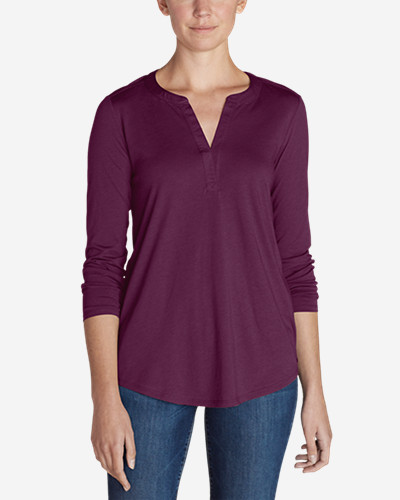 Women's Gate Check Long Sleeve Split Neck Tunic by Eddie Bauer