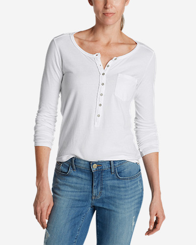 White Tees for Women: Women's Gypsum Henley Shirt - Solid