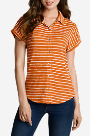 Women's Short-Sleeve Slub Shirt - Striped