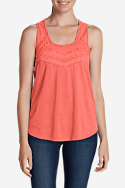 Orange Tops for Women: Women's Gypsum Embroidered Tank Top