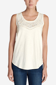 Cotton Tops for Women: Women's Gypsum Embroidered Tank Top