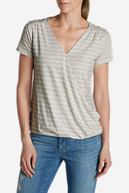 Cotton Tops for Women: Women's Girl On The Go Wrap It Up Top - Stripe