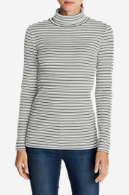 Cotton Tops for Women: Women's Lookout 2x2 Rib Turtleneck - Stripe