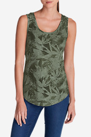 Green Tops for Women: Women's Essential Slub Tank Top - Print