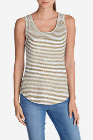 Cotton Tops for Women: Women's Essential Slub Tank Top - Stripe
