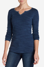 Cotton Tops for Women: Women's Favorite Notch Neck Long-Sleeve T-Shirt