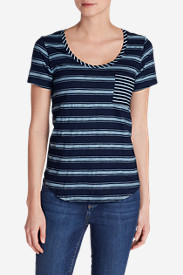 Women's Gypsum Pocket T-Shirt - Wide Stripe