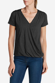 3 Quarter Sleeve Tops: Women's Girl On The Go Wrap It Up Top - Small Stripe