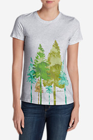 Graphic Tops for Women: Women's Graphic Short-Sleeve T-Shirt - Trees