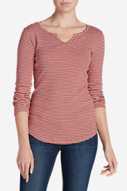 Women's Favorite Notch Neck Long-Sleeve T-Shirt - Stripe