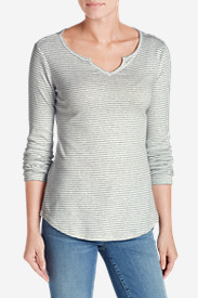 Comfortable Tops for Women: Women's Favorite Notch Neck Long-Sleeve T-Shirt - Stripe