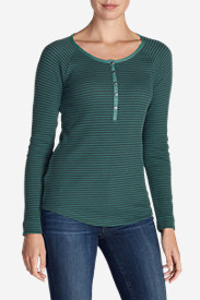 Green Tops for Women: Women's Stine's Favorite Waffle Henley - Stripe