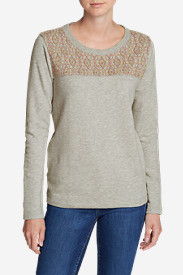 Women's Shoreline Embroidered-Yoke Crewneck Sweatshirt