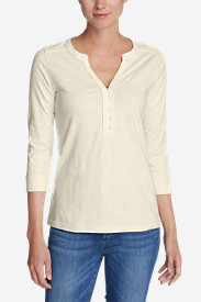Women's 3/4-Sleeve Knit/Woven Henley Shirt
