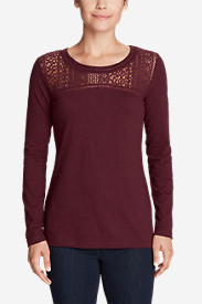 Women's Long-Sleeve Crochet Top Slub T-Shirt