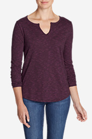 Women's Boyfriend Long-Sleeve Notch-Neck T-Shirt